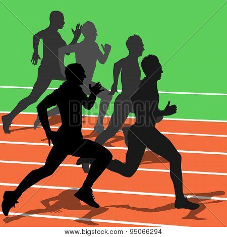 Silhouettes, Athletes Running In The Stadium. Vector Illustratio