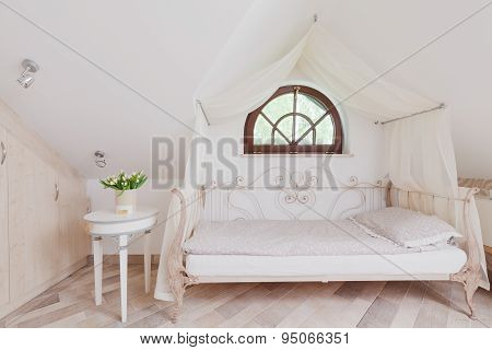 Stylish Bed In Romantic Bedroom