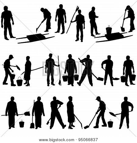 Set Of Black Silhouettes Of Men And Women With Shovels And Bucke