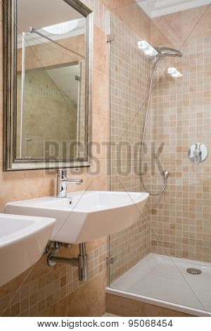 Shower Cubicle In Beige Washroom
