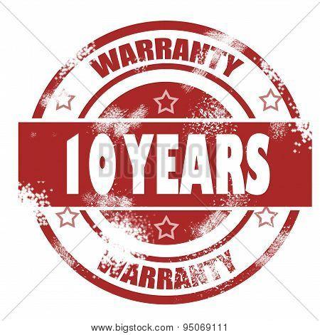 Ten Years Warranty Grunge Stamp