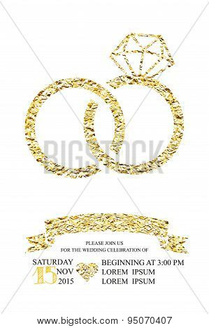 Wedding invitations with gold glitter texture ring.White