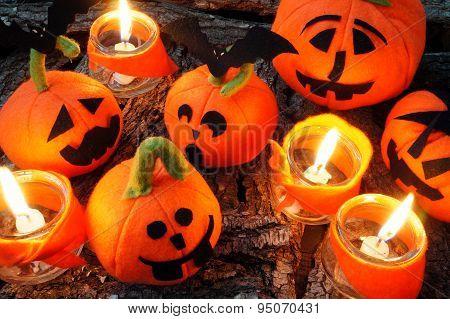 Halloween Background, Handmade Pumpkin