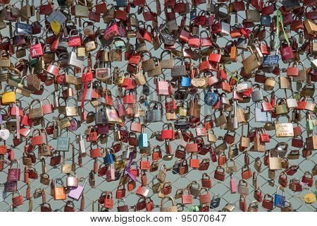 SALZBURG, AUSTRIA - July 4 2015: Love locks bridge