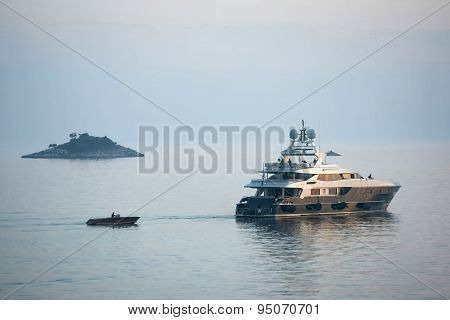 Yacht Sailing In Adriatic Sea At Sunset