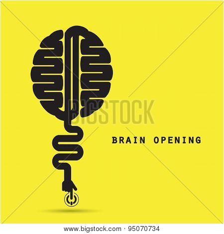 Brain Opening Concept.creative Brain Abstract Vector Logo Design Template. Corporate Business Indust