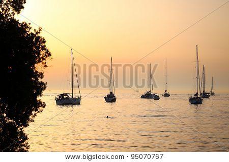 Anchored Sailboats At Sunset