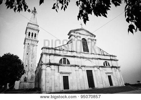 Saint Euphemia Basilica At Sunset Bw