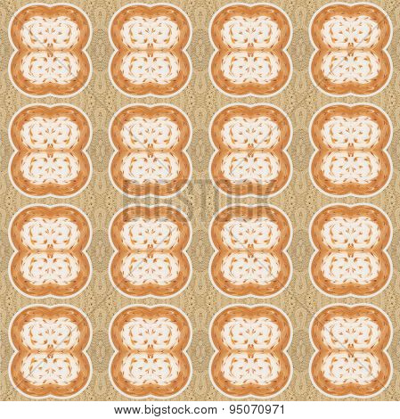 Seamless Pattern With Latte Art Coffee On Brown Sweater Background