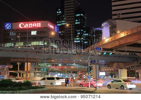 Bangkok cityscape night traffic