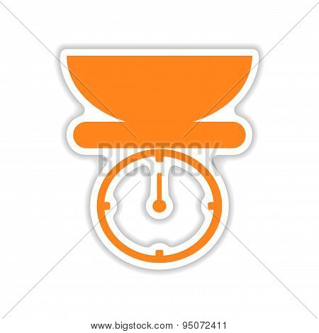 icon sticker realistic design on paper kitchen scales