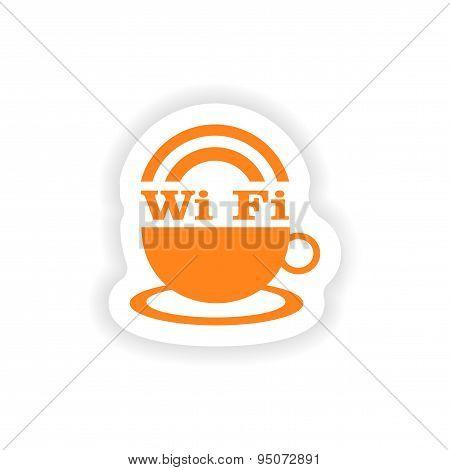 icon sticker realistic design on paper wi-Fi