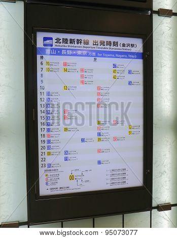 Kanazawa train station Shinkansesn timetable