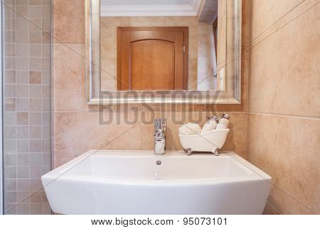 Ceramic Washbasin In Beige Toilet