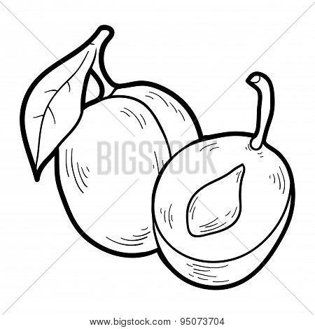 Coloring Book: Fruits And Vegetables (plum)