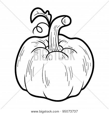 Coloring Book: Fruits And Vegetables (pumpkin)