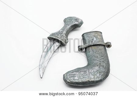 Vintage dagger and sheath on white background