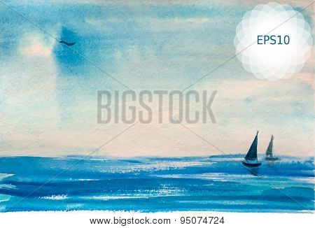 Watercolor painting of blue turquoise sea and boats. Vector illustration EPS10.