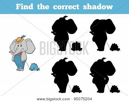 Find The Correct Shadow (elephant And Toy)