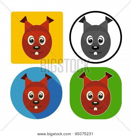 Vector Illustration Set Character Muzzle Squirrel