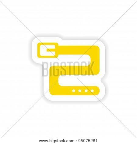 icon sticker realistic design on paper belt
