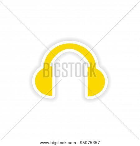 icon sticker realistic design on paper headphones