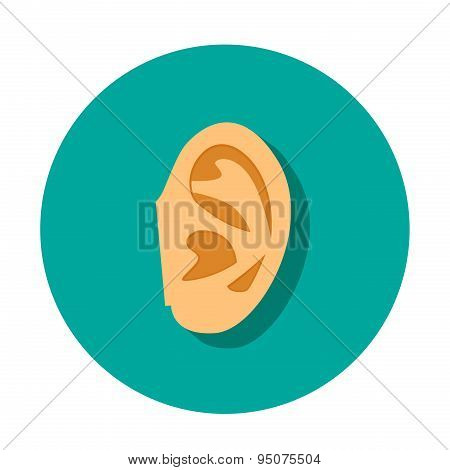 Human Ear Icon With Shadow In Flat Style