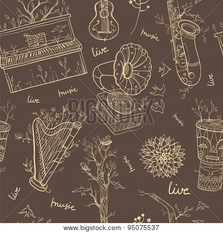 Seamless Pattern With Musical Instruments On Brown Background