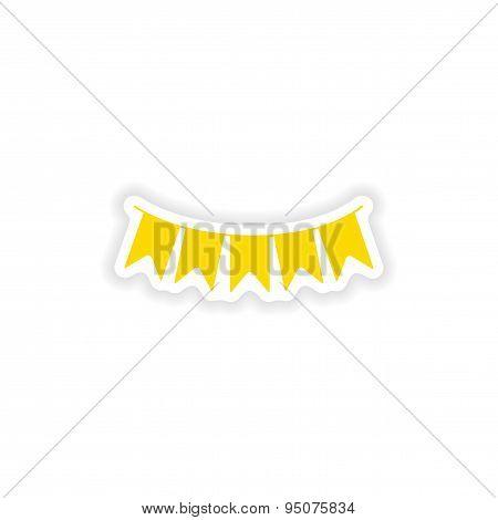 icon sticker realistic design on paper garland