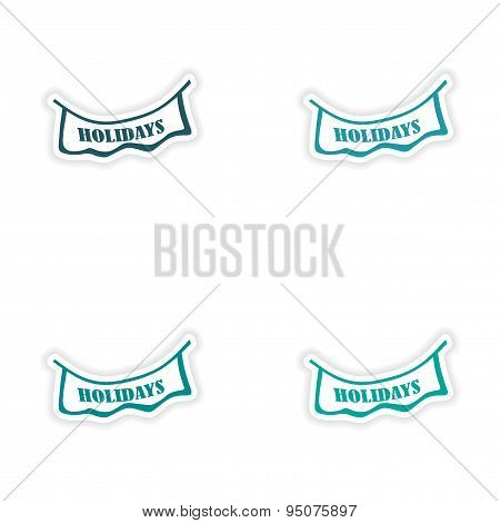 assembly realistic sticker design on paper garlands