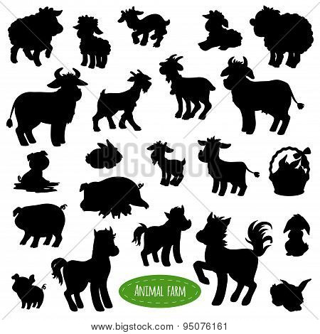 Set Of Farm Animal Silhouettes (pig, Cow, Horse, Goat, Sheep, Rabbit)