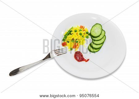 Boiled Rice With Vegetables And Fresh Cucumber