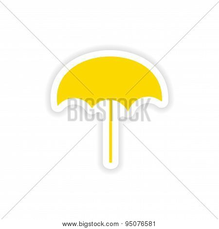 icon sticker realistic design on paper beach umbrella