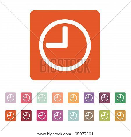 The Time Icon. Clock Sound Symbol. Flat