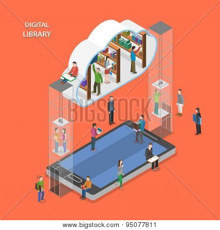 Digital library flat isometric vector concept.