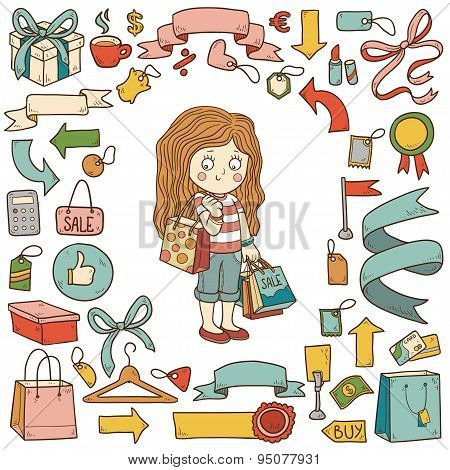 Vector set of shopping items, girl with shopping bags