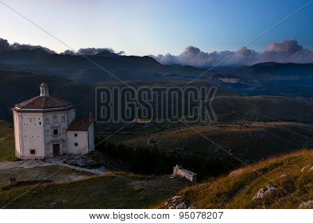 Santa Maria della Pieta after sunset, Umbria, Italy