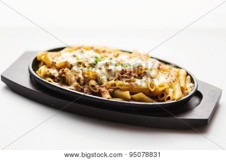 Baked Penne Pasta With Meat And Cheese