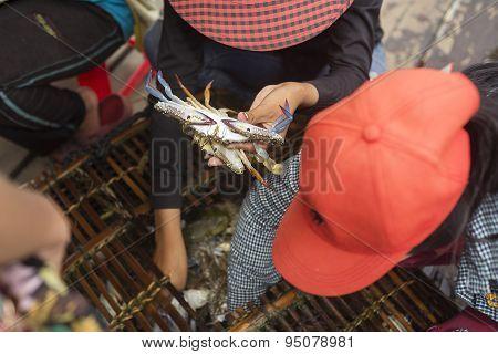 Asia Crab Vendors Selling At Kep Market Cambodia