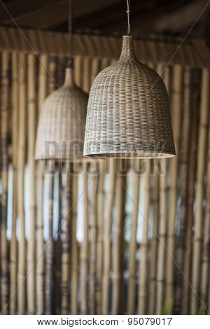 Straw Lampshade And Bamboo Interior Design