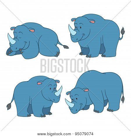 Set of vector cute animals (rhino)
