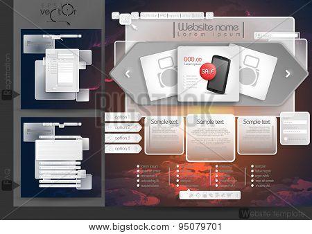 Website Design Template Menu Elements
