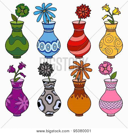 Vector set of vases, study of colors for children