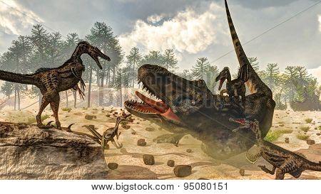 Tarbosaurus attacked by velociraptor dinosaurs - 3D render