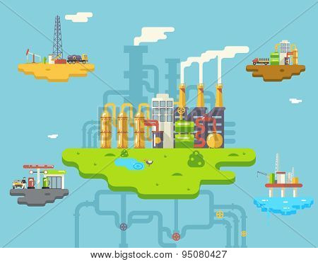 Factory Refinery Plant Manufacturing Products Processing Retro Flat Oil Floating Island Icons and Sy