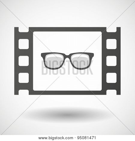 35Mm Film Frame With A Glasses