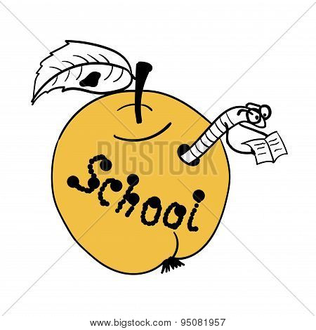 Scientist worm built himself a school in the apple  comic vector illustration