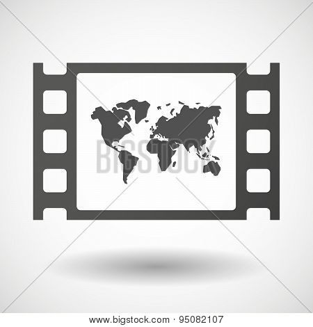 35Mm Film Frame With A World Map