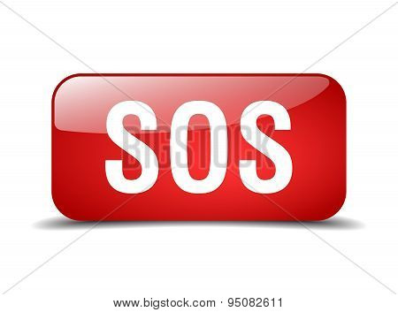 Sos Red Square 3D Realistic Isolated Web Button