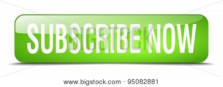 Subscribe Now Green Square 3D Realistic Isolated Web Button